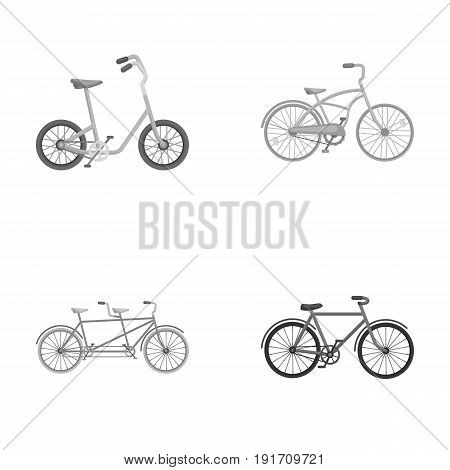 Children's bicycle, a double tandem and other types. Different bicycles set collection icons in monochrome style vector symbol stock illustration .