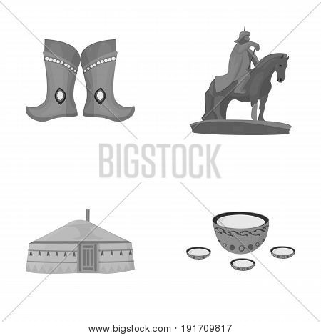 Military boots, a monument to the rider, a national tent, a milk drink. Mongolia set collection icons in monochrome style vector symbol stock illustration .