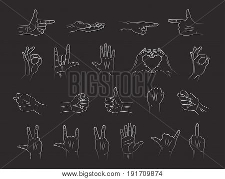 Different outline hands gestures with interpretations of various emotions and signs in chalk on blackboard. Vector line illustration art.