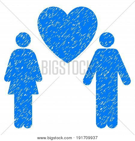 Grunge Love Couple icon with grunge design and scratched texture. Unclean vector blue pictogram for rubber seal stamp imitations and watermarks. Draft sticker love couple symbol.