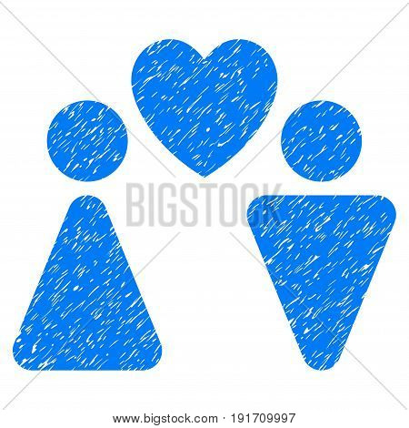 Grunge Love Couple icon with grunge design and dirty texture. Unclean vector blue pictogram for rubber seal stamp imitations and watermarks. Draft emblem love couple symbol.