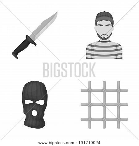 Knife, prisoner, mask on face, steel grille. Prison set collection icons in monochrome style vector symbol stock illustration .