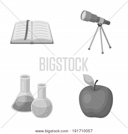 An open book with a bookmark, a telescope, flasks with reagents, a red apple. Schools and education set collection icons in monochrome style vector symbol stock illustration .
