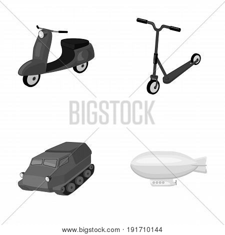Motorcycle, scooter, armored personnel carrier, aerostat types of transport. Transport set collection icons in monochrome style vector symbol stock illustrationa.