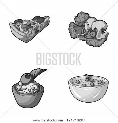 Piece of vegetarian pizza with tomatoes, lettuce leaves with mushrooms, blueberry cake, vegetarian soup with greens. Vegetarian dishes set collection icons in monochrome style vector symbol stock illustration .