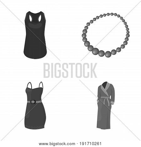 T-shirt, beads, summer women's sarafan on straps with a belt, a home gown. Women's clothing set collection icons in monochrome style vector symbol stock illustration .