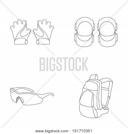 Gloves, elbow pads, goggles, cyclist backpack. Cyclist outfit set collection icons in outline style vector symbol stock illustration.