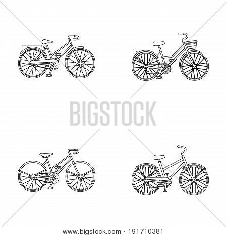 Sports bike and other types. Different bicycles set collection icons in outline style vector symbol stock illustration.