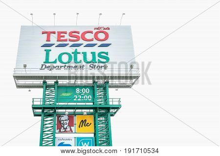 Nakhon Ratchasima THAILAND - Jun 11 2017 : Tesco lotus signage in Korat Thailand. Tesco Lotus is a hypermarket chain in Thailand operated by Ek-Chai Distribution System Co. Ltd.