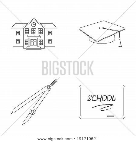 School building, college with windows, a master's or applicant's hat, compasses for a circle, a board with a chalk school inscription. School and education set collection icons in outline style vector symbol stock illustration .