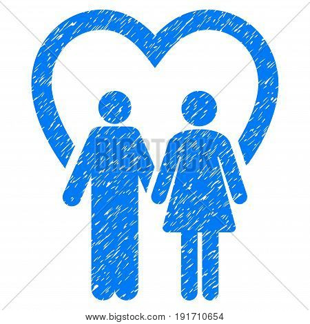Grunge Marriage icon with grunge design and scratched texture. Unclean vector blue pictogram for rubber seal stamp imitations and watermarks. Draft sign marriage symbol.