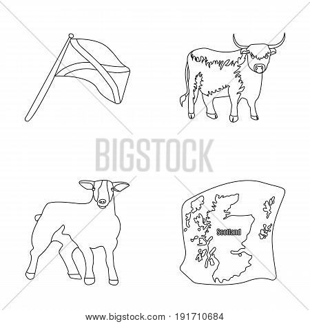 The state flag of Andreev, Scotland, the bull, the sheep, the map of Scotland. Scotland set collection icons in outline style vector symbol stock illustration .