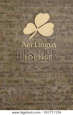 NEW YORK- JUNE 9, 2017: Aer Lingus Lounge inside of JetBlue Terminal 5 at John F Kennedy International Airport in New York