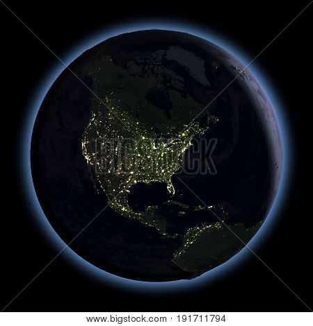 North America From Space At Night