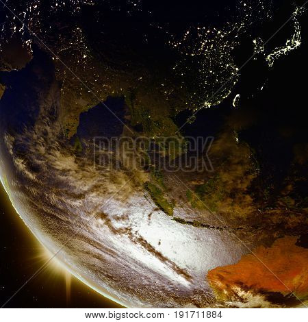 Sunset Above Southeast Asia From Space