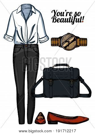 Vector illustration of women fashion clothes look set. White knotted shirt black skinny jeans satchell bag red pointed ballerinas shoes golden watch. Ink hand drawn style colored.