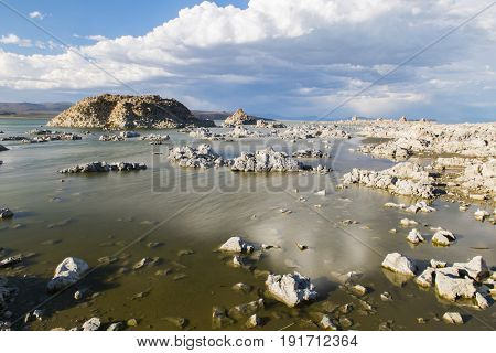 Tufa formations in Mono Lake. Long exposure. California, USA