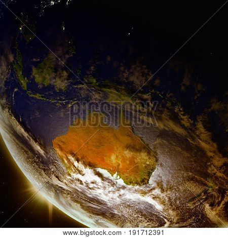 Sunset Above Australia From Space