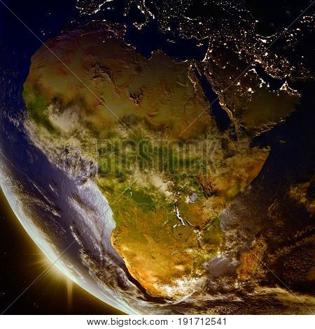 Sunset Above Africa From Space