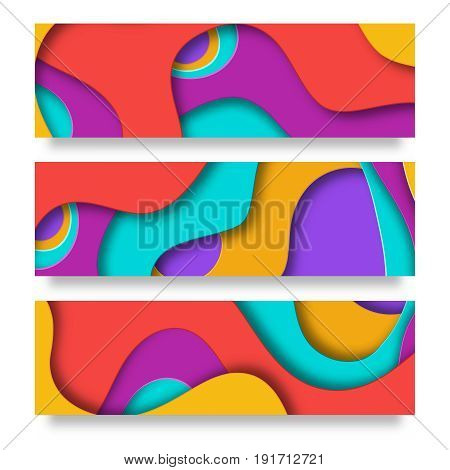 Horizontal banners with 3D paper cut abstract background . Vector design for business presentations, flyers, posters and invitations. Colorful carving art blue, yellow, orange and violet
