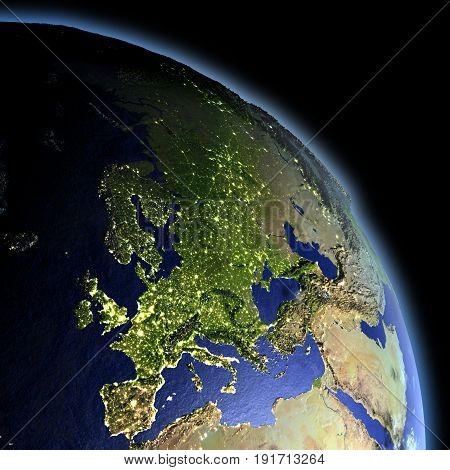 Europe From Space At Dawn