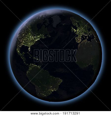 Northern Hemisphere From Space At Night