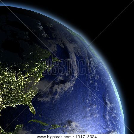 East Coast Of North America From Space At Dawn