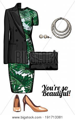 Vector illustration of women fashion clothes party cocktail look Tropical print bodycon dress nude pump shoes double breasted jacket clutch bag and pearl necklace and earrings. Ink hand drawn style colored.