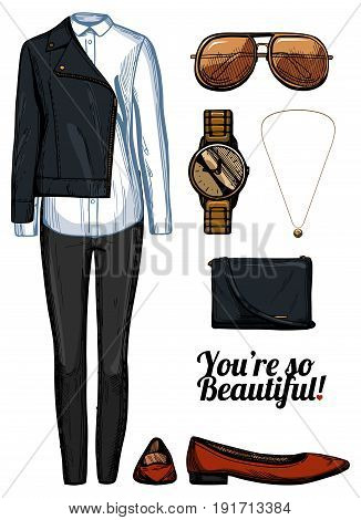 Vector illustration of women fashion clothes look set. Leather rider jacket white shirt black skinny jeans red pointed balerinas shoes aviator sunglasses golden watch and pendant crossbody bag. Ink hand drawn style colored.