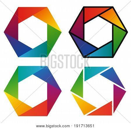 Four colorful hexagon rainbow pictograms - first icon with gradient second with spectrum gradient and black outline third with less hue and fourth with white outline