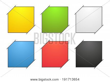 Set of 6 isolated colorful blank banners with black outline or note with corners stuck in paper (white background) each note is filled with colorful gradient
