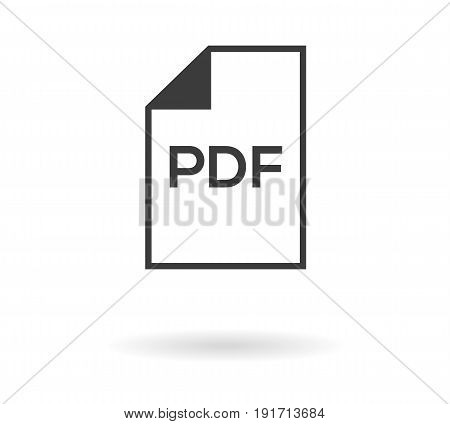 Simple greyscale icon with file and PDF text inside - can be used as button for download or upload pdf file isolated on white with shadow