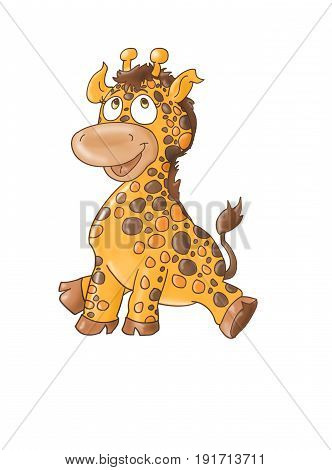 A small sitting smiling giraffe mascot Color illustration for books and fables