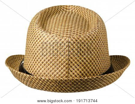 Hat With A Brim .hat Isolated On White Background . Brown Hat