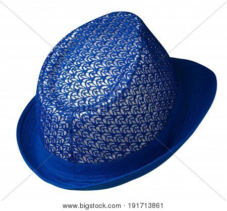 Hat With A Brim .hat Isolated On White Background . Blue Hat