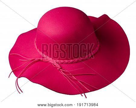 Women's Hat Felt Isolated On White Background .fashion Hat Felt .red Hat