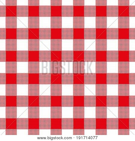 Seamless Abstract Illustration Of Red Chechkered (gingham) Table Cloth