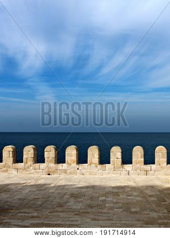 Ramparts Over the Mediterranean Sea against a Partly Cloudy Sky