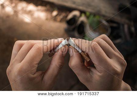 Man prohibit not to smoke Concept stop smoking.