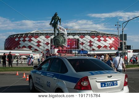 MOSCOW RUSSIA - June 18 2017 Cars Road service crew near the Spartak stadium in Moscow before the start of the match of the group stage of the FIFA Confederations Cup 2017 between the national teams of Cameroon and Chile.