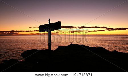 Pacific Sunset with Cross Silhouette in Oahu Hawaii