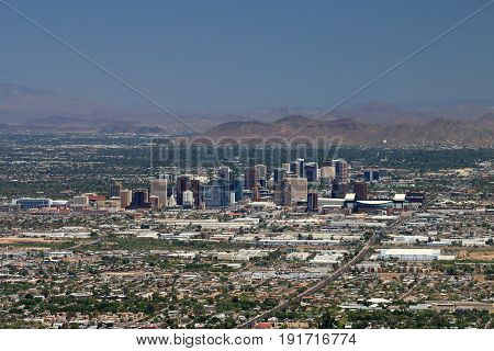 Phoenix Arizona Skyline Photographed from South Mountain