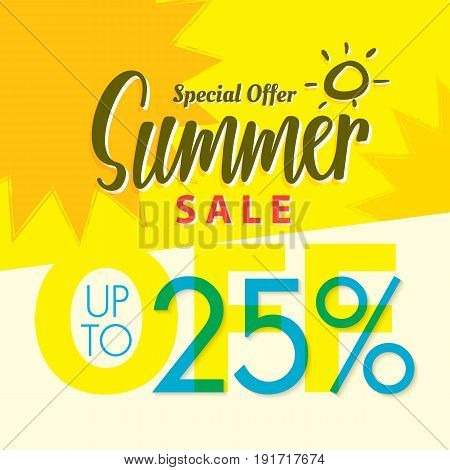 Summer Sale set V.2 25 percent yellow heading design for banner or poster. Sale and Discounts Concept. Vector illustration.