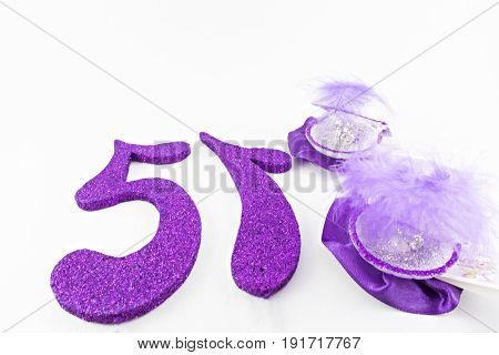 Fifteen years decoration in violet tones On a white background.