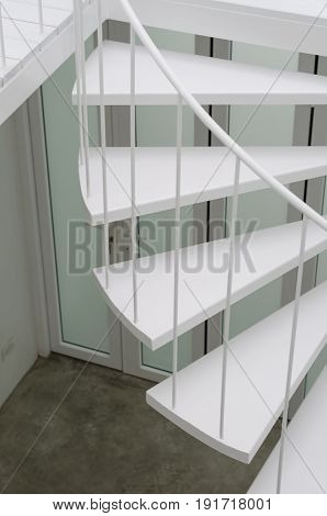 Closeup of spiral staircase. Architectural design in minimal style