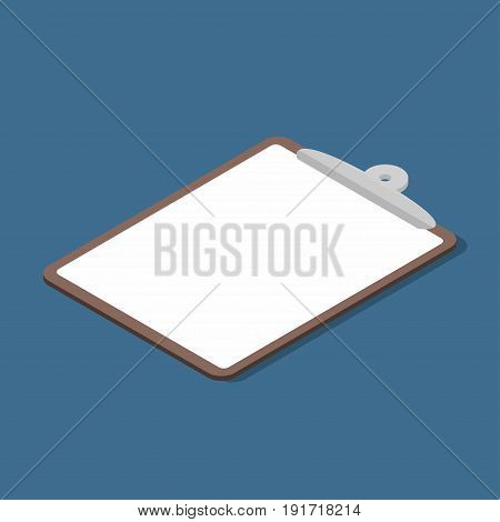 Isometric Clipboard With Empty Page. Business Clipboard Icon