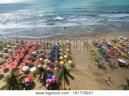 RECIFE, BRAZIL - CIRCA MARCH 2016: Top view of Boa Viagem beach in Recife, Pernambuco, Brazil