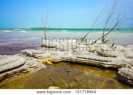 Picturesque islands of medicinal salt in the lake. Israel, spring. Forever Living Dead Sea. Concept of ecological and medical tourism