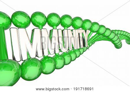 Immunity Health DNA Word Immune Disease Resistance 3d Illustration