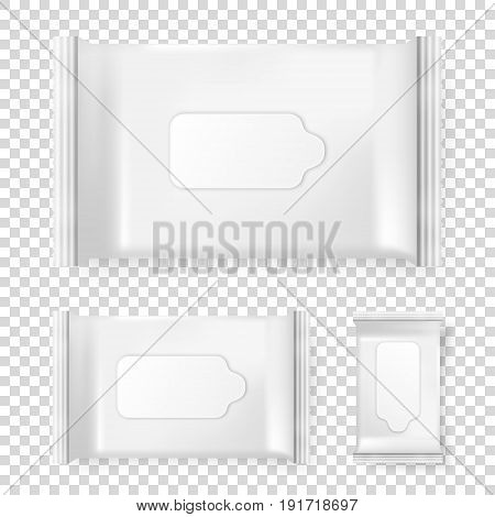 Realistic vector pack of wet wipes icon set isolated on transparent background. Vector design template for branding, EPS10 illustration.
